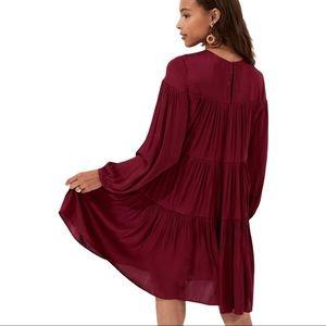 BANANA REPUBLIC SATIN TIERED MINI DRESS CRANBERRY